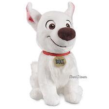 "Disney Store Licensed 14"" BOLT dog Plush w/ Lightning Bolt Icon w/dog tag logo"