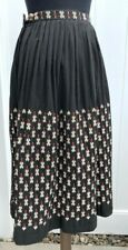 VTG Cecile Guatemala Embroidered Ethnic Skirt Size S Midi Black Red Hand Woven