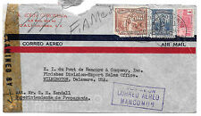 Colombia Censored Commercial Cover 1944 Boxed Correo Aereo Mancomun Cali to US