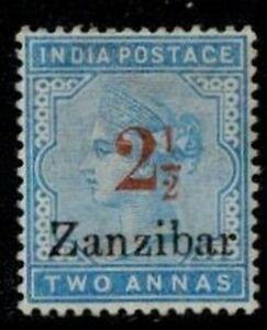 Zanzibar 1895-98 2 1/2 Type 6 in Red on 2a Blue MOG HR F/VF S.G. 26j CV L450