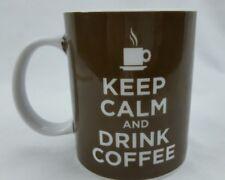 Ceramic Coffee Tea Mug Cup KEEP CALM AND DRINK COFFEE White and Brown 12 oz.