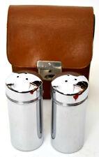 Vintage English Chrome Salt Pepper Cruet Picnic Set in Leather Case [PL2474]