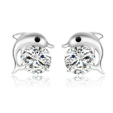Elegant Shiny Dolphin Silver with White Zircon Stud Earrings Studs E900