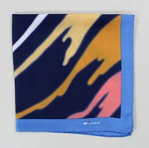 Kiton Pocket Square Navy Blue Orange Yellow Pink White 100% Silk Hand Stitched