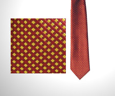Premier Mens tie - Work Wear | Corporate | Business - Dice Checked Red and Gold