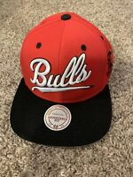 Mitchell & Ness Chicago Bulls Snapback Hat Cap Two Tone Red Black Logo Hat