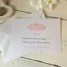 """Handmade Personalised """"Will You Be My Flower Girl"""" Flat Card Invite"""