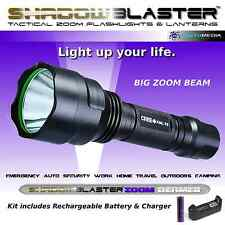 Shadow Blaster UltraFire Beamer Tactical Zoom Flashlight + Battery & Charger
