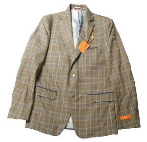 Men's Tallia Sports Coat, Brown Plaid, 40 Regular, New with Tags
