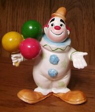 Adorable Vintage Glazed Fine Porcelain Circus Clown w/ Balloons made in Taiwan