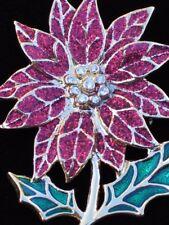 "NWT GOLD RED RHINESTONE CHRISTMAS POINSETTIA FLOWER PLANT BROOCH JEWELRY 2.5""LRG"