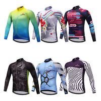 Long Sleeve Cycling Jersey Men's Full Zip MTB Bicycle Cycle Tops Shirts S-5XL