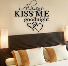Always Kiss Me Goodnight Love Quote Wall Stickers Removable Decals Art Bedroom