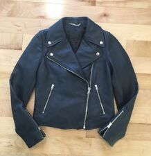 NWOT J CREW Collection leather motorcycle jacket SZ 00 In Navy