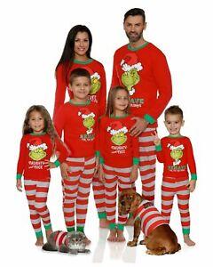 Christmas Pajamas The Grinch Loungewear 2 pcs XMAS Kids Family Matching Womens