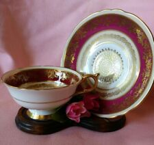 Vintage Parragon Queen Royal Red & Gold Footed Bone China Tea Cup & Saucer Set