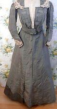 Victorian Dress Grey Plaid Silk  2 pc. Taffeta Dress .  S