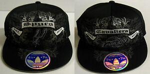 NBA Adidas 210 Fitted Flat Visor Flex Black Cap Hat Team Assorted NEW!