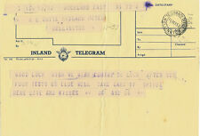 GOOD LUCK ALL BLACK TOUR 1953/4 TELEGRAM TO HL 'SNOW' WHITE
