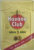 "Havana Club Rum ""El Ron De Cuba"" embossed metal sign  (hi 3020 red slash)"