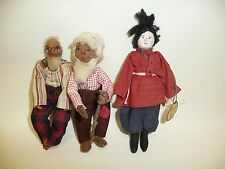 """3 Artist Made Male Dolls 1940-50's 6"""" Cossack Looking Doll Has Tag Tropical Trad"""