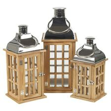 Wood & Metal Lanterns Indoor Outdoor Candle Holder Fireplace Wedding Xmas Party