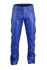 Lederhose Blau mit streife leather Pants,leder hose 5 pockets lederjeans Gr.32