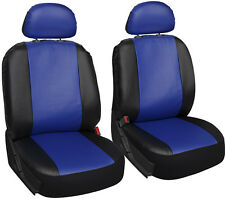 Faux Leather Car Seat Covers Blue Black 6pc Bucket Set w/Head Rests
