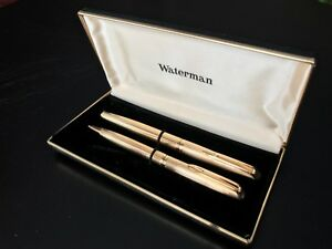 VINTAGE WATERMAN OR 18 Cts GOLD SET OF 2 PENS Fountain/Rollerball w/ documents