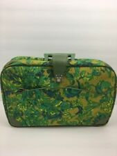 Vintage Suitcase Made Japan Small Green Blue Floral Retro Hippie Mid Century Mod