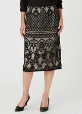 BLACK  Floral Lace detail Lined Pull on desk to dinner SKIRT size 24 NEW
