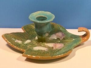 Antique Majolica Bell Flowers & Leaf Candle Holder Chamber Stick c.1800's