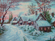 """Needlepoint tapestry painted canvas - Winter Village (18""""x24"""") Gobelin D451"""