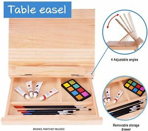 Art adjustable wood table easel with storage drawer Paint Palette