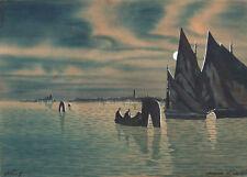 LAGUNA DI VENEZIA - Acquerello Originale 1900 - Venice Lagoon Watercolour
