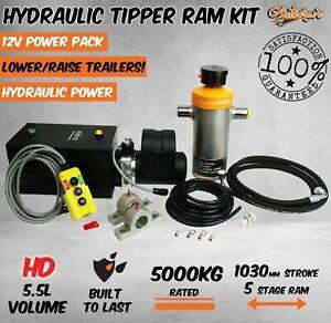 Hydraulic Ram Cylinder Tipper Trailer kit Pump 1000mm stroke 5 stage 5000kg HD