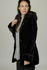Dennis Basso Faux Fur Hooded Coat with Print Lining & Drawstring Waist Uk XS