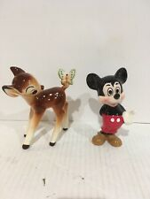 Vintage Mickey Mouse  & Bambi Glass Figurine, Walt Disney Productions Japan