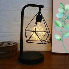 BedSide Table Lamps Desk Lights Retro Bed Light Black Geometric Industrial LED