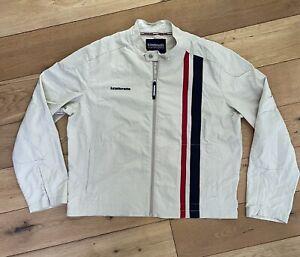 Men's Lambretta Carnaby Street Harrington Jacket Size XL White Stripe Le Mans