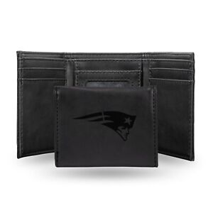 New England Patriots Black Laser Engraved Synthetic Leather Trifold Wallet NWT