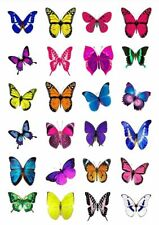 24 X VIVID MIXED BUTTERFLY EDIBLE CUPCAKE TOPPERS CAKE RICE PAPER M5