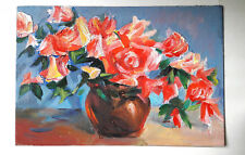 Original Oil Painting on a Blackboard: Red flowers Handmade Worldwide Delivery