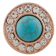 Rose Gold Clear Rhinestone Turquoise 20mm Snap Charm For Ginger Snaps Jewelry