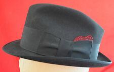 Vintage Towncraft Mens Fedora Hat XXX Beaver Felt Black Red Feather Band 6 7/8