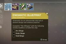 Destiny 2: THE WHISPER, ENIGMATIC BLUEPRINT & WEEKLY SINGE MISSIONS - (PS4/XBOX)