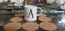 Set of 8  Coasters - Absorbent Cork Drink Coasters - 3-7/8 ROUND  FREE SHIPPING