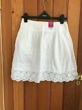 florence and fred white cotton embroidered dot crochet lace mini skirt uk6 petit
