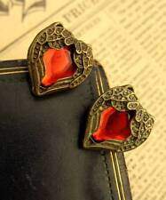Vintage Red Crystal Heart Angel Wing EARRINGS Necklace Gothic Antique Bronze