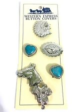 Lot Of 6 Silver Tone Western Motif Button Covers #B9